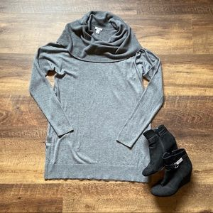 Caslon {Nordstrom} Slouchy Gray Cowlneck Tunic, L